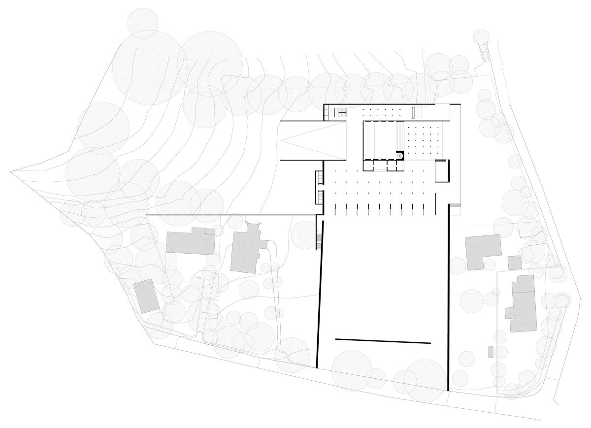 Plan. Centre de recherche et bibliothèque.
