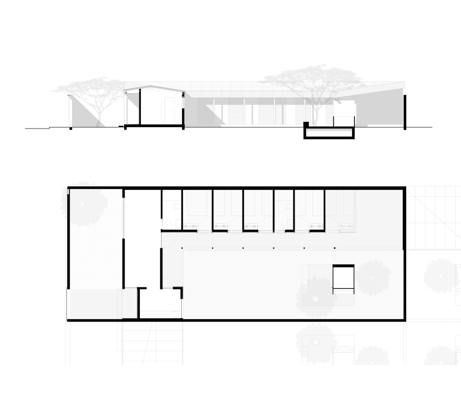 longitudinal section and plan of the house