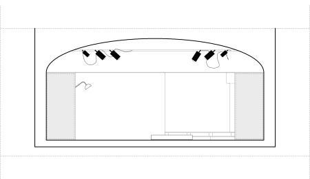 Corte do cenário e relação entre a plateia e a nova estrutura proposta.