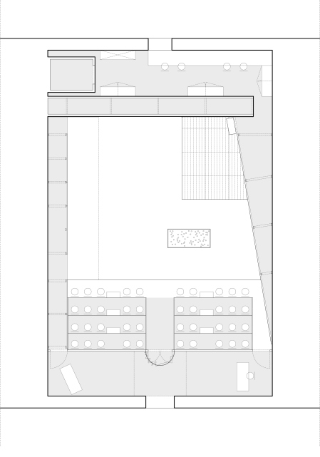 Schéma du plan. Scénario et relation entre la salle et la nouvelle structure proposée.